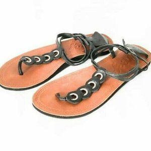 Reef T-Strap Sandals Womens 9 Black Tan Leather Th